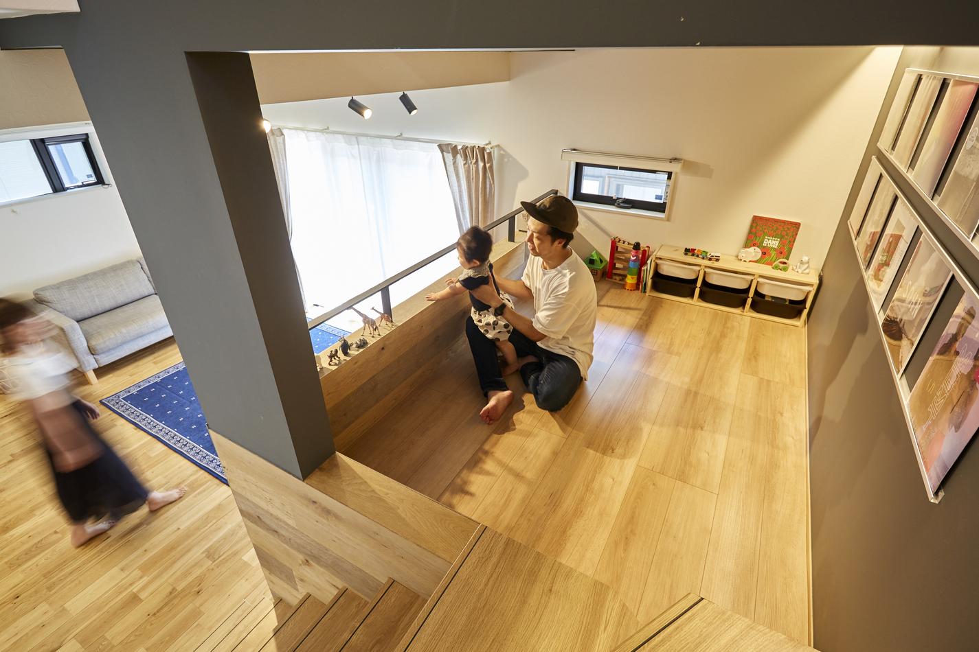 中二階部分はお子様の遊び場として、大人の趣味スペースとしも活用できる