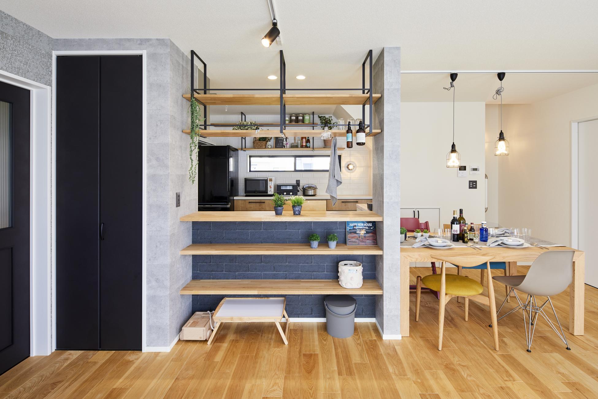 インダストリアルなカフェを イメージしたキッチン