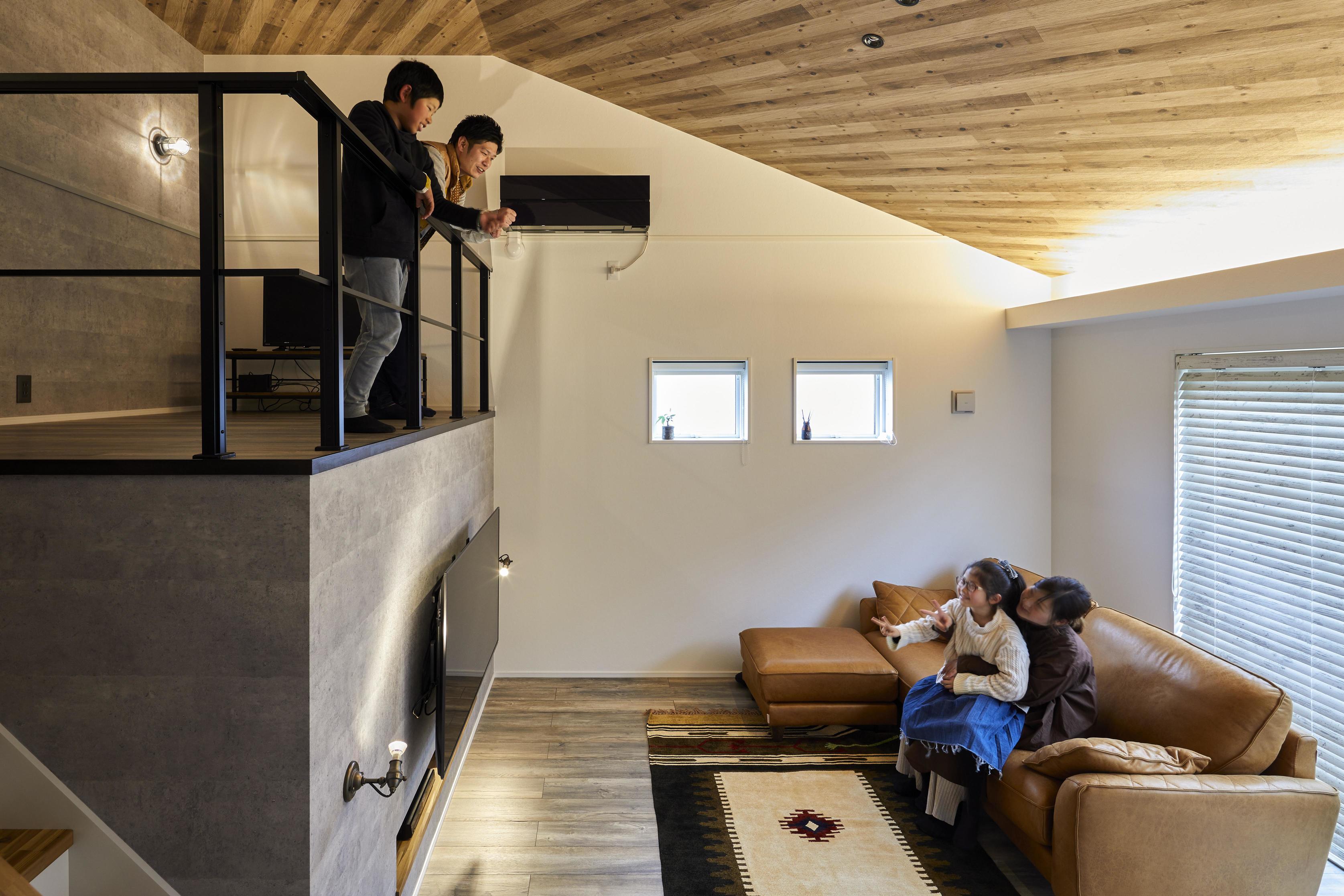 家族がLDKに集める設計に。スキップフロアはお子様憩いの場所になったそう